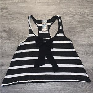 Striped bow flowy tank top